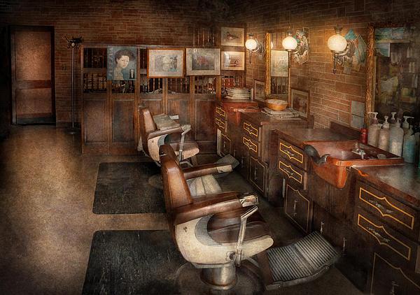 Barber - Clinton Nj - Clinton Barbershop  Print by Mike Savad