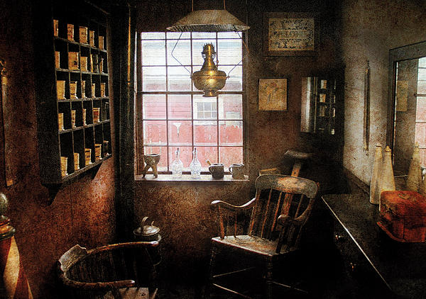 Barber - Remembering The Old Days Print by Mike Savad