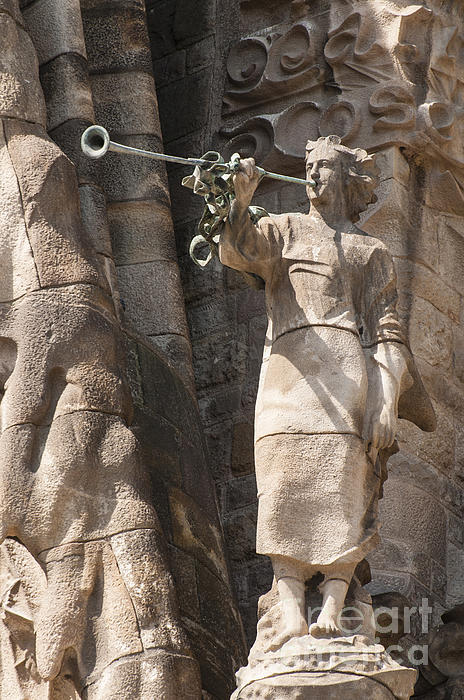 Barcelona Church Sagrada Familia Nativity Facade Detail Print by Matthias Hauser