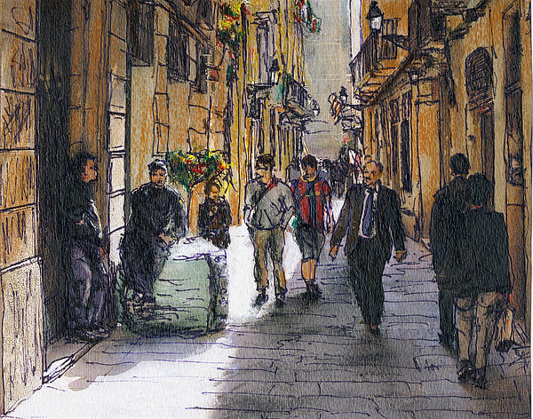 Barcelona Street Sketch Painting  - Barcelona Street Sketch Fine Art Print
