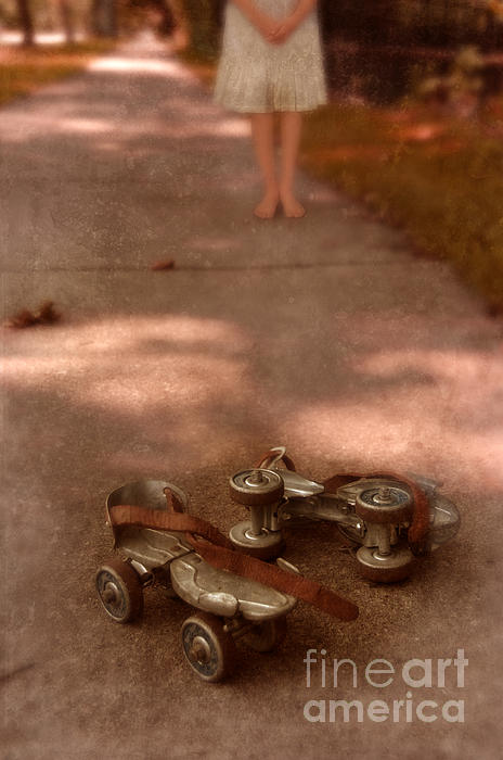 Barefoot Girl On Sidewalk With Roller Skates Print by Jill Battaglia