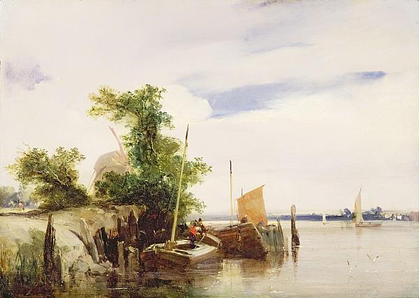 Barges On A River Print by Richard Parkes Bonington