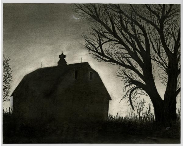 Barn Sillouette Print by Bryan Baumeister