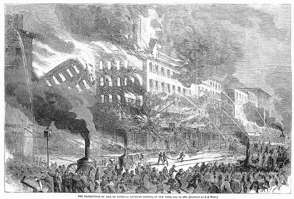 Barnums Museum Fire, 1865 Print by Granger