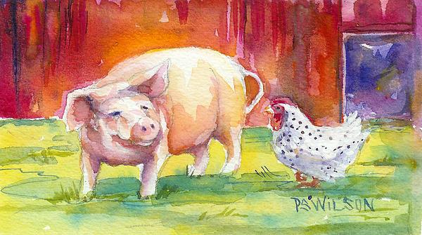 Barnyard Conversations Print by Peggy Wilson