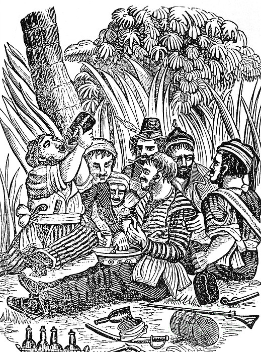 Bartholmew Roberts And Crew Drinking Print by Photo Researchers