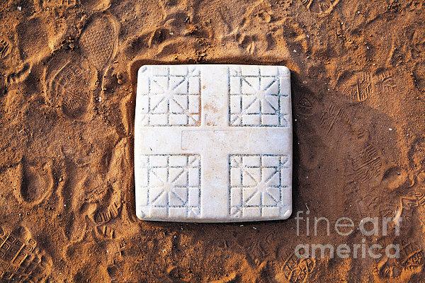 Base On Baseball Field Print by Skip Nall