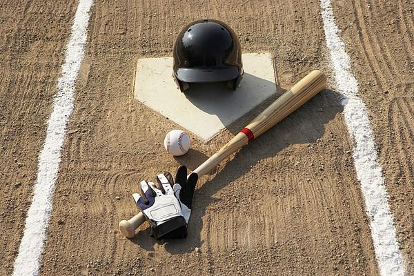 Baseball, Bat, Batting Gloves And Baseball Helmet At Home Plate Print by Thomas Northcut