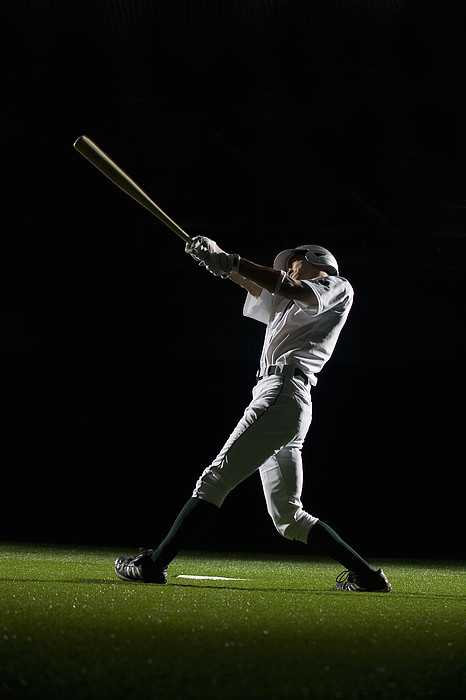 Baseball Batter Swinging Bat, Side View Print by PM Images