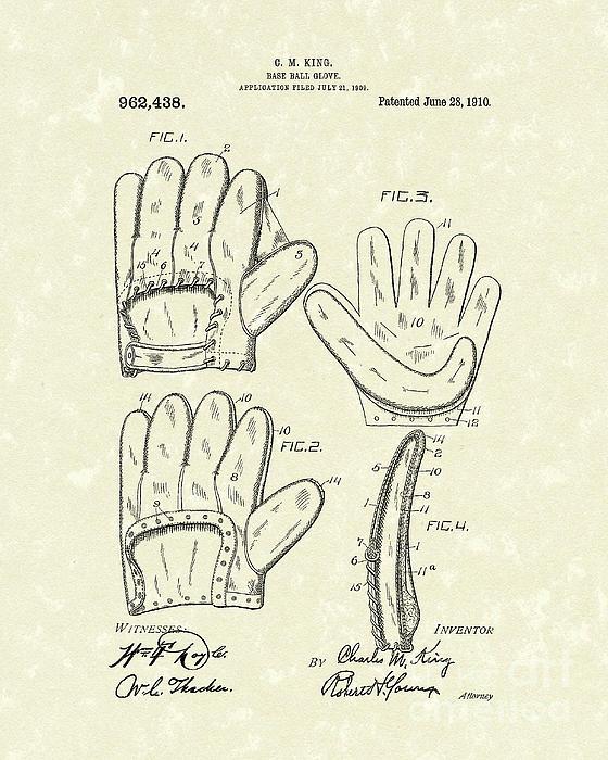 Baseball Glove 1910 Patent Art Print by Prior Art Design