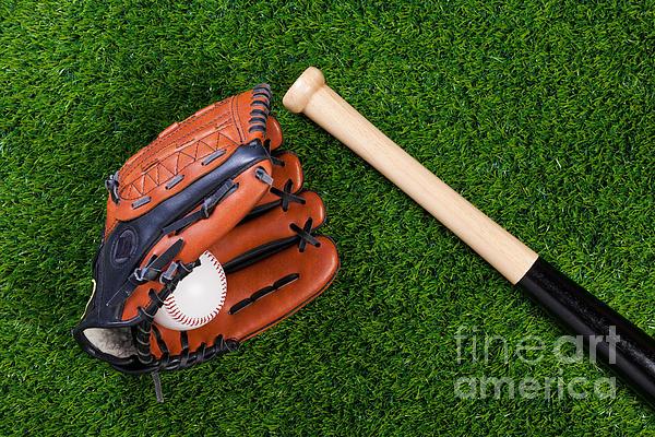 Baseball Glove Bat And Ball On Grass Print by Richard Thomas