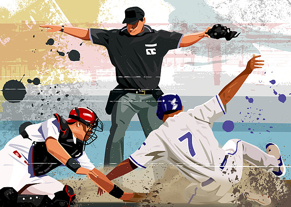 Baseball Player Safe At Home Plate Print by Greg Paprocki