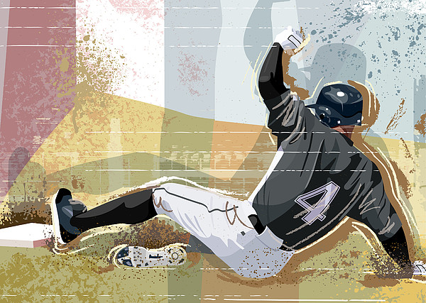 Baseball Player Sliding Into Base Print by Greg Paprocki
