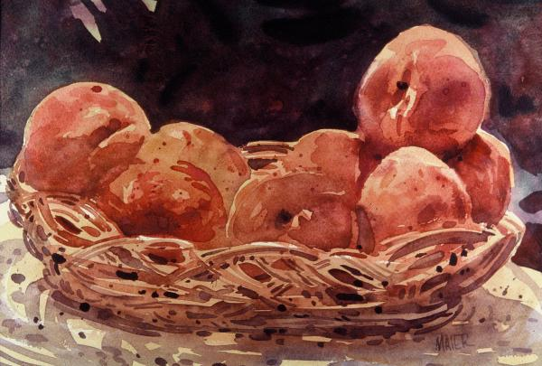 Basket Of Peaches Print by Donald Maier