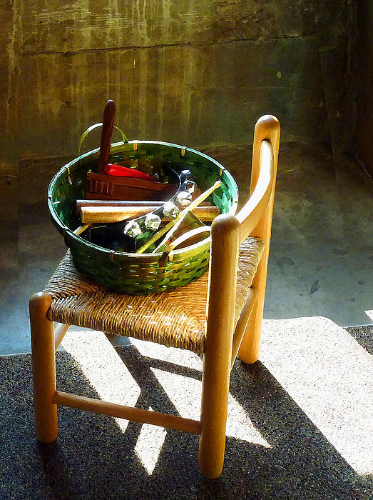 Basket Of Toy Instruments Print by Susan Savad