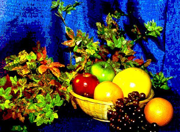 Basket With Fruit Print by Nancy Mueller