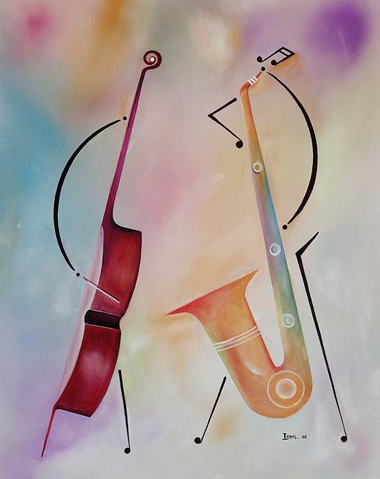 Bass And Sax Print by Ikahl Beckford