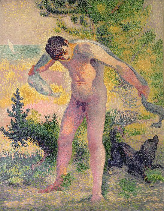 Bather Drying Himself At St Tropez Print by Henri-Edmond Cross