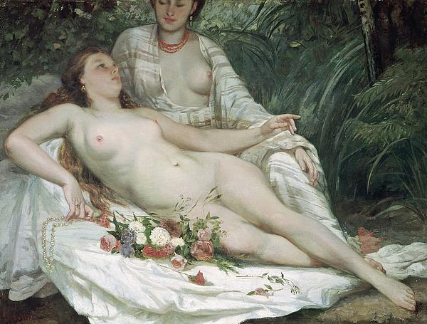 Bathers Or Two Nude Women Print by Gustave Courbet