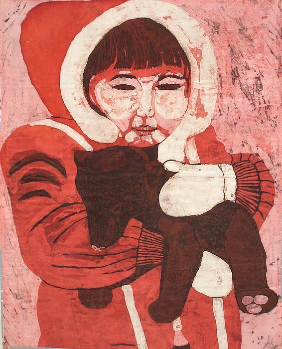 Lisa Kramer - Batik -Girl w Bear-