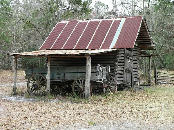 Battered Barn And Weathered Wagon Print by Al Powell Photography USA