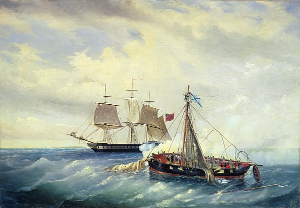 Battle Between The Russian Ship Opyt And A British Frigate Off The Coast Of Nargen Island  Print by Leonid Demyanovich Blinov