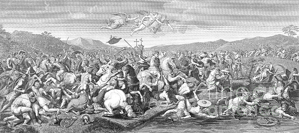 Battle Of The Milvian Bridge, 312 Ad Print by Photo Researchers
