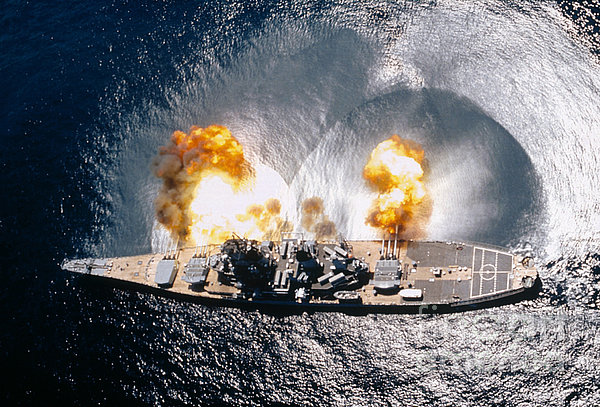 Battleship Iowa Firing All Guns Print by Stocktrek Images