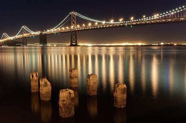 Bay Bridge Reflections Print by Connie Spinardi