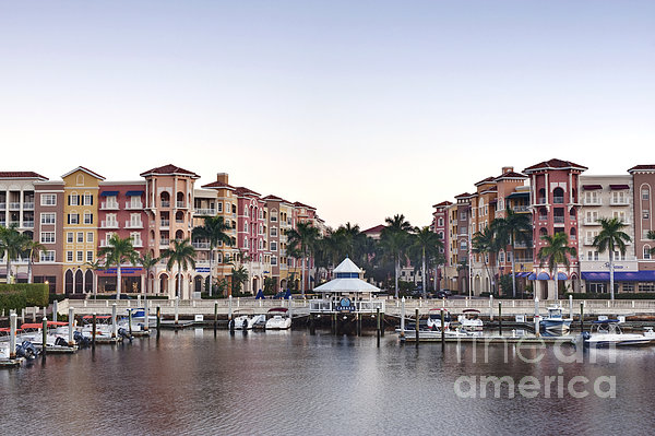 Bayfront Shopping Center And Marina Print by Rob Tilley