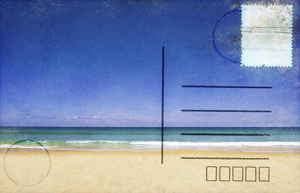 Beach And Blue Sky On Postcard  Print by Setsiri Silapasuwanchai