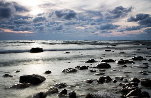 Beach At Dusk Print by Carol Hathaway
