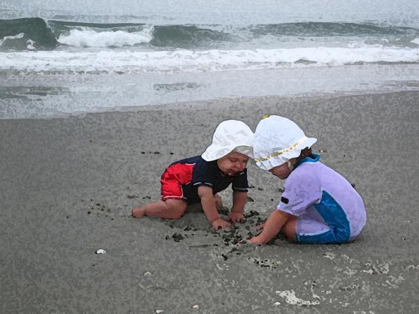 Beach Babies Print by Paul Barlo