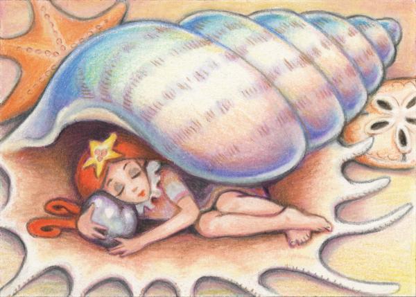 Beach Babys Treasure Print by Amy S Turner
