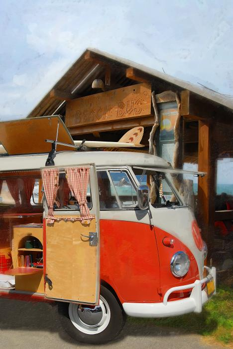 Beach Bus Print by Ron Regalado