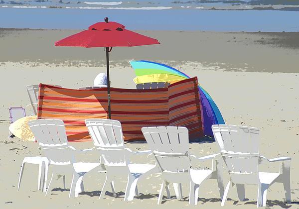 Beach Chairs Print by Lori Seaman