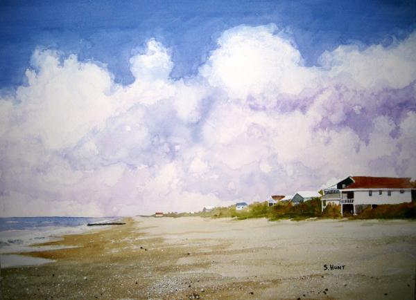 Beach Cottages Print by Shirley Braithwaite Hunt