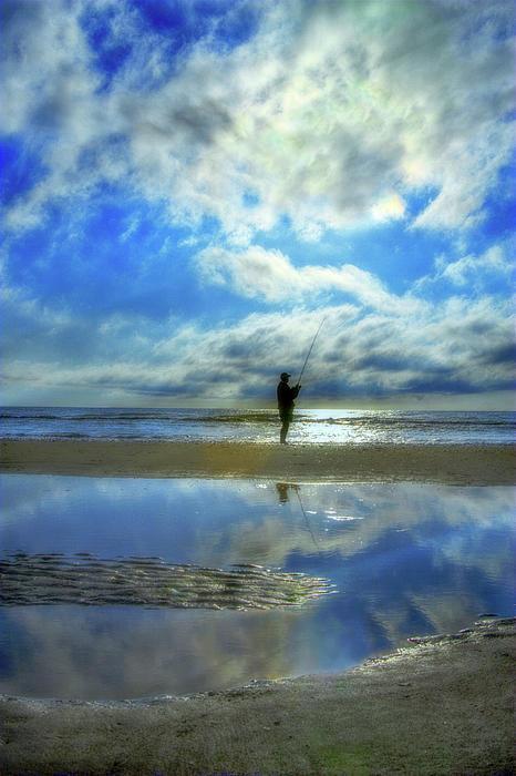 Beach Fisherman  Print by Randy Steele