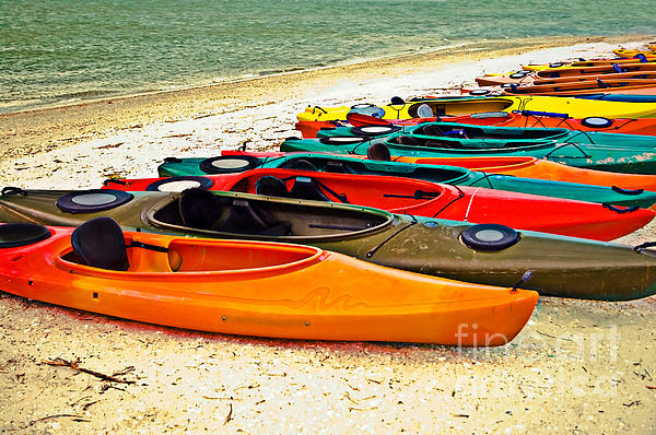 Beach Kayaks Print by Susan Leggett