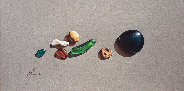 Beach Stones Print by Elena Kolotusha