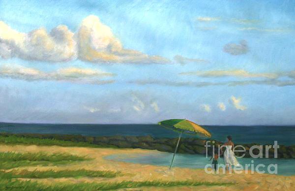 Beach Umbrella Print by Jane  Simonson