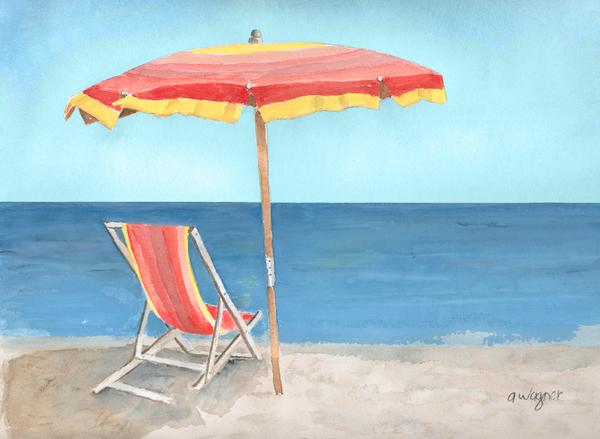 Beach Umbrella Of Stripes Print by Arline Wagner