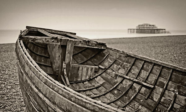 Beached At Brighton In Sepia Print by Tony Grider