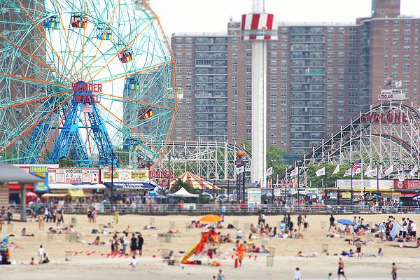 Beachgoers At Coney Island Print by Ryan McVay