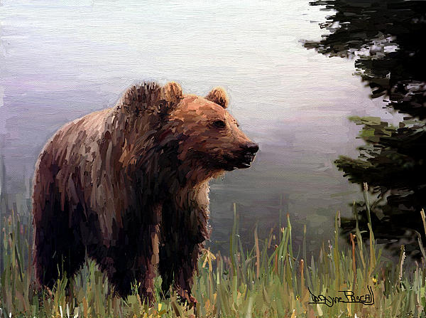 Bear In The Woods Print by Wayne Pascall