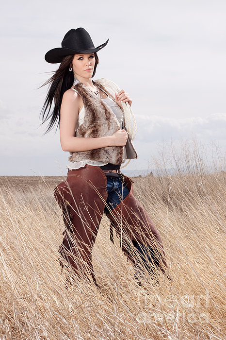 Beautiful Cowgirl Print by Cindy Singleton