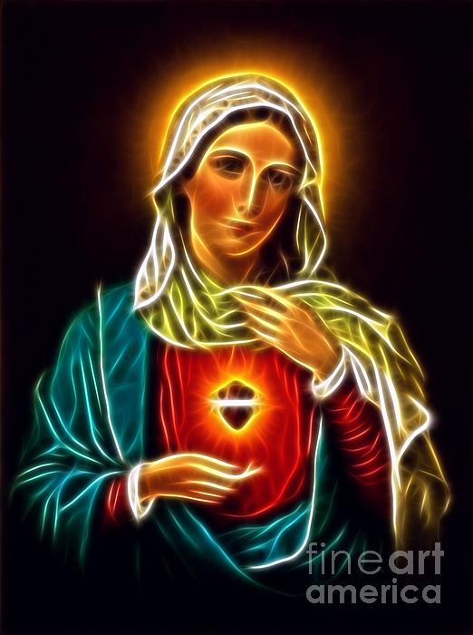 Beautiful Virgin Mary Sacred Heart Print by Pamela Johnson