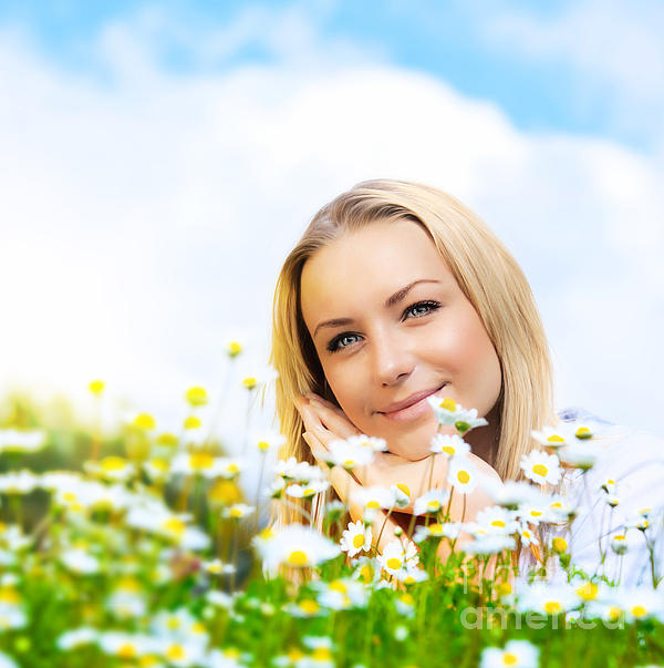 Beautiful Woman Enjoying Daisy Field And Blue Sky Print by Anna Omelchenko