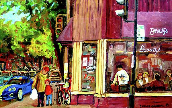 Beautys Luncheonette Montreal Diner Print by Carole Spandau