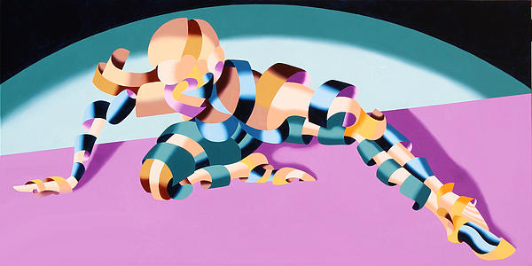 Becca 219.02 Abstract Futurist Figurative Oil Painting Print by Mark Webster
